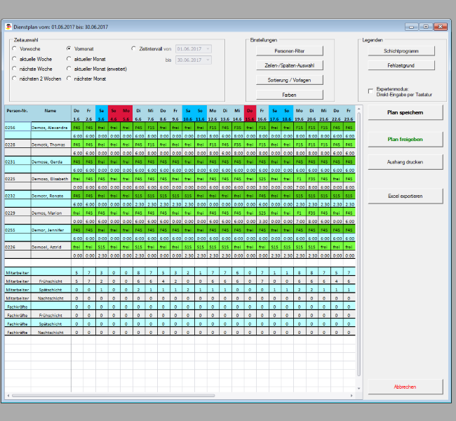 Dienstplanung; Personalzeitmanagement; Personaleinsatzplanung; Zeiterfassung; Personalzeiterfassung; PEP;